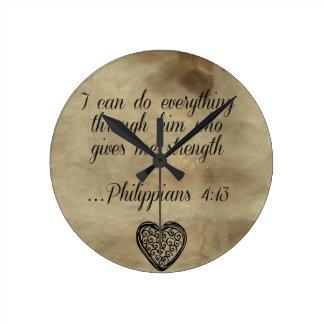 Bible Verse Philippians 4:13 Round Clock