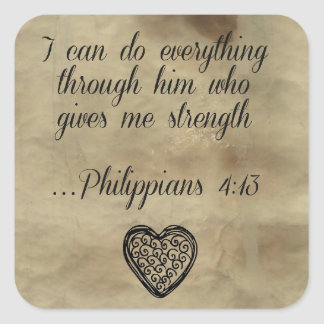 Bible Verse Philippians 4:13 Square Sticker