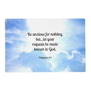 Bible Verse, Philippians 4:6 Placemat at Zazzle