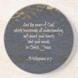 Bible Verse Phillippians 4:7 Beverage Coaster