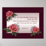 Bible Verse: Pink Roses: Jeremiah 29:11: Art Posters