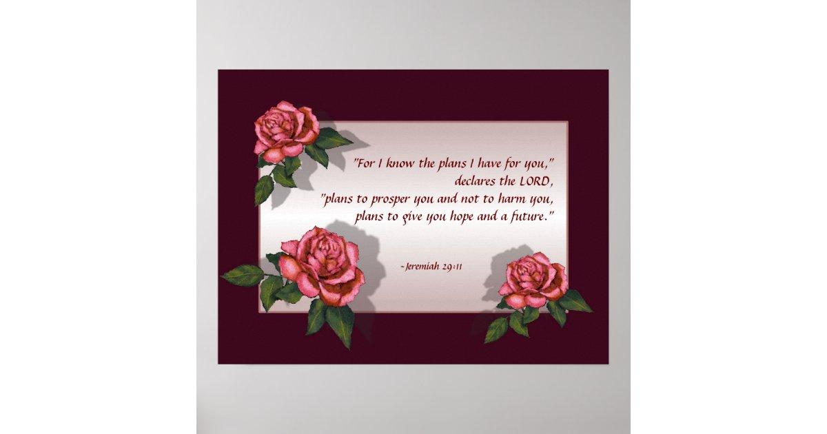 bible verse pink roses jeremiah 2911 art poster
