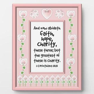 Bible Verse Plaque - Hearts Butterflies Flowers