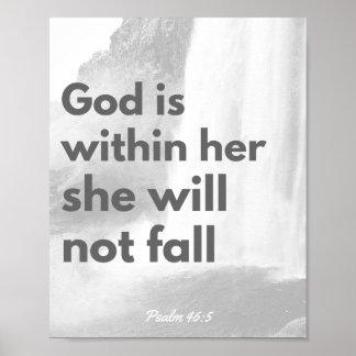 Bible verse poster, christian wall art, Psalm 46:5 Poster
