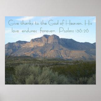 Bible Verse Poster  Psalms 136:26