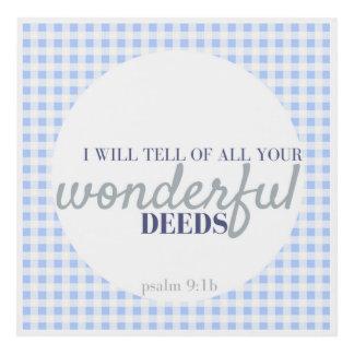 Bible Verse Print Mini Blue Gingham Psalm 9:1b
