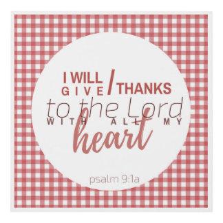 Bible Verse Print Mini Red Gingham Psalm 9:1a