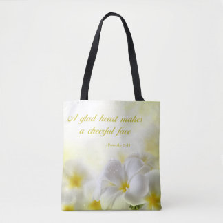 Bible Verse | Proverbs 15:13 | Yellow Floral Tote Bag