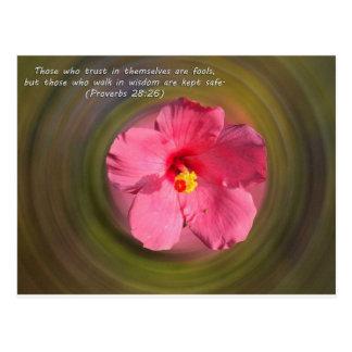 Bible Verse Proverbs 28:26 Postcard
