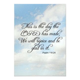 Psalm 118 24 invitations announcements zazzle bible verse psalm 118 24 over cloudy sky card invi stopboris Gallery