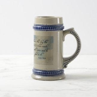 Bible Verse Psalm 118-24 Over Sky Coffee Mug Cup