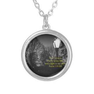 Bible Verse Psalm 119:105 Lamp to my feet... Round Pendant Necklace