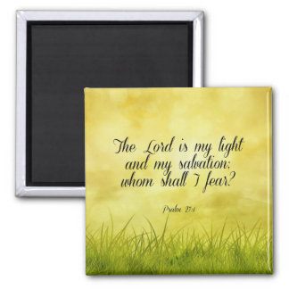 Bible verse, Psalm 27:1 2 Inch Square Magnet