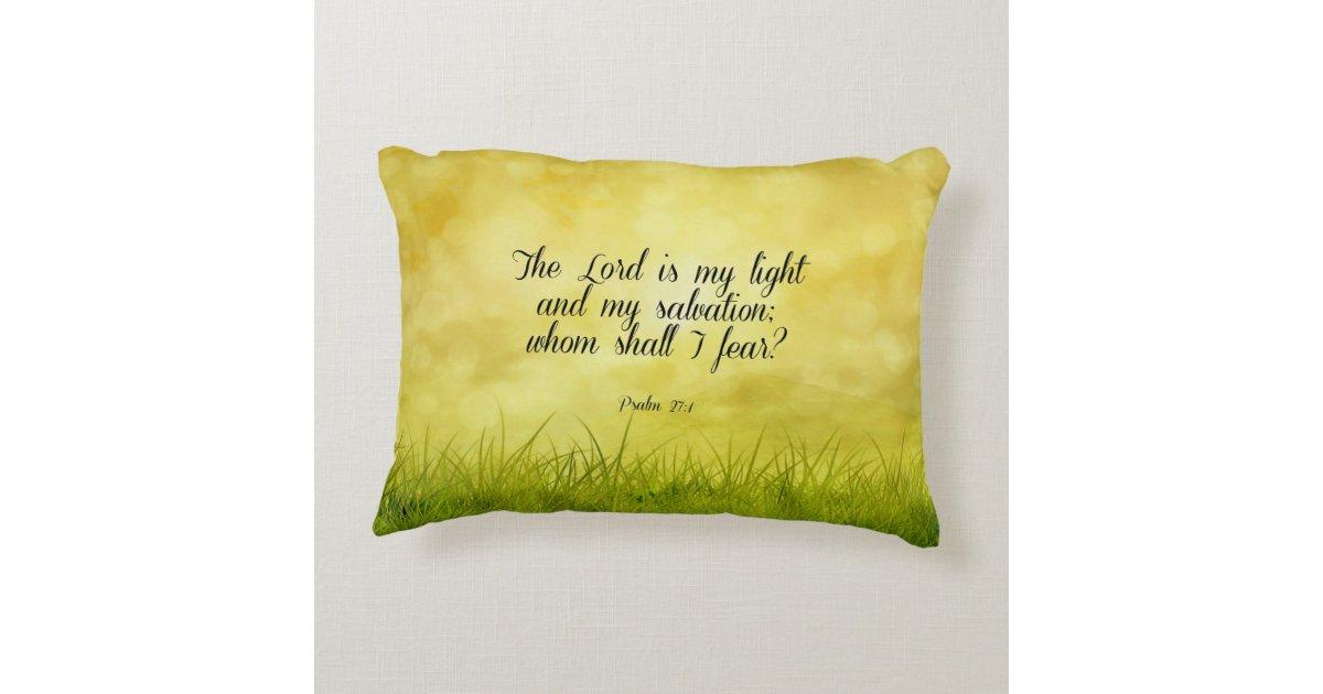Bible verse, Psalm 27:1 Decorative Pillow Zazzle