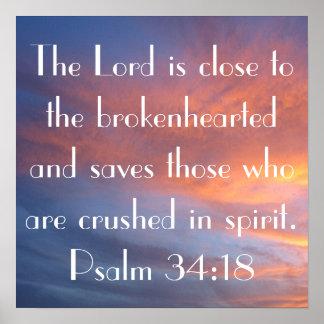 bible verse Psalm 34:18 sunset Poster