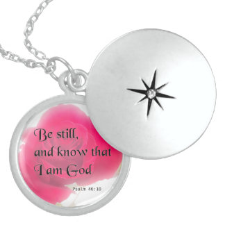 Bible Verse Psalm 46:10 Flower Card Or Invitation Round Locket Necklace
