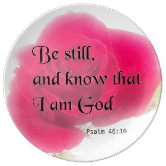 Bible Verse Psalm 46:10 Flower Plate