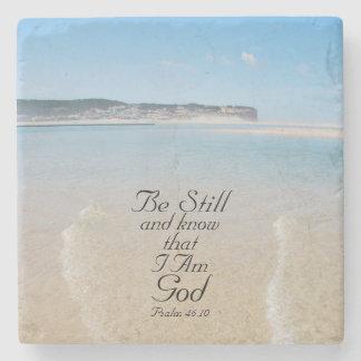 Bible Verse Psalm 46:10 Ocean View Stone Coaster