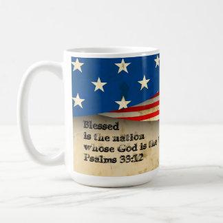 Bible Verse Psalms 33:12 on a Vintage USA Flag Mug