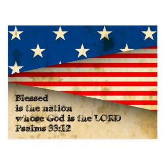 Bible Verse Psalms 33:12 Vintage USA Flag Postcard