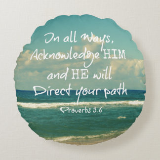 Bible Verse Quote with Ocean Round Pillow
