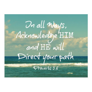 Bible Verse Quote with Ocean Postcard