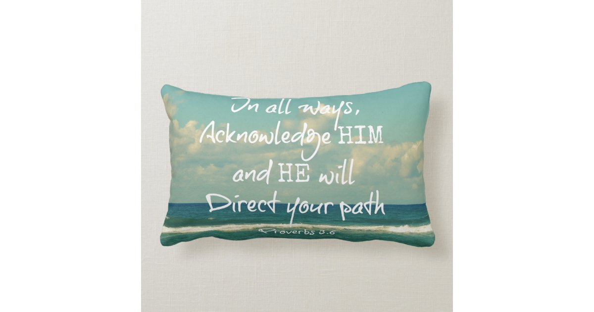Throw Pillows With Bible Verses : Bible Verse Quote with Ocean Throw Pillow Zazzle