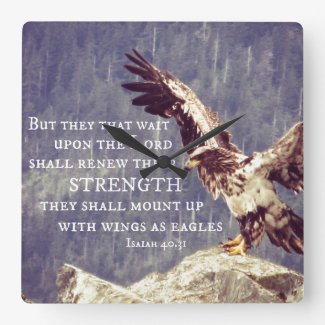 Bible Verse: Renew Strength, Wings as Eagles Square Wall Clock