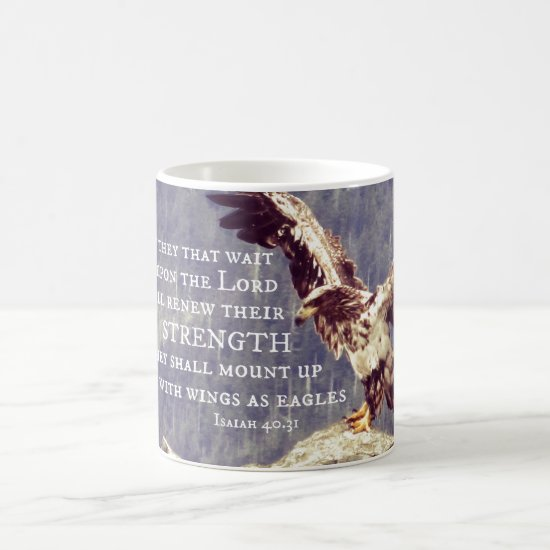 Bible Verse: Renew Strength, Wings as Eagles Coffee Mug