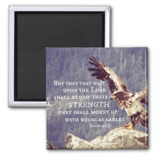 Bible Verse: Renew Strength, Wings as Eagles 2 Inch Square Magnet