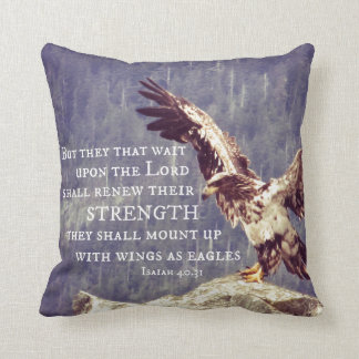 Bible Verse: Renew Strength, Wings as Eagles Throw Pillow