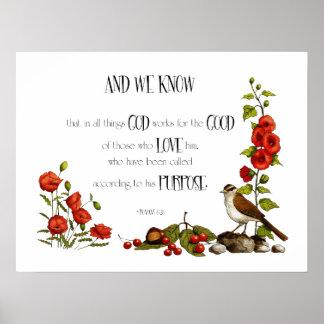 Bible Verse: Romans 8:28: Drawing of Flowers, Bird Poster