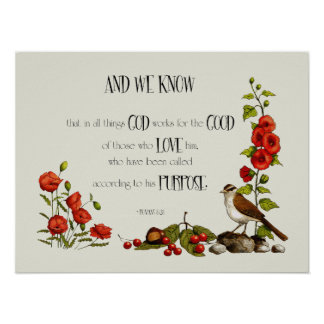 Bible Verse: Romans 8:28: Drawing of Flowers, Bird Print