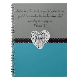 Bible Verse Romans 8:28 Retro Notebook
