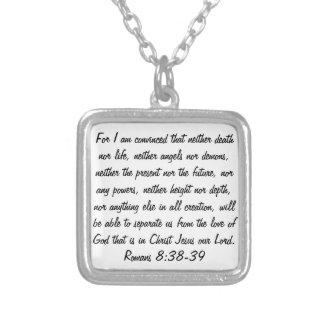 bible verse Romans 8:38-39 Square Pendant Necklace