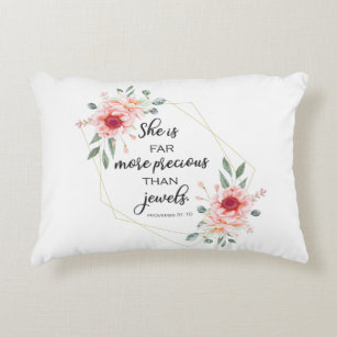 Throw Pillow-More Precious Than Jewels