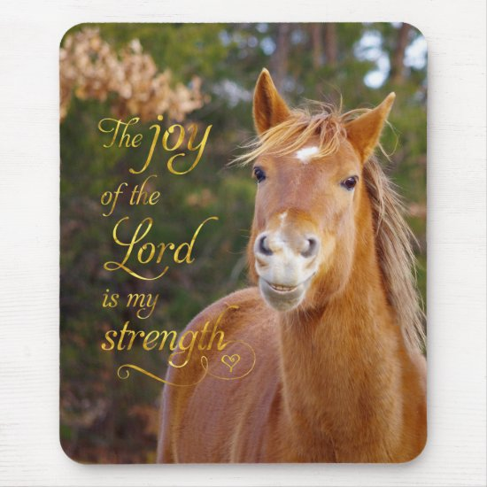 Bible Verse Smiling Chestnut Horse Mousepad