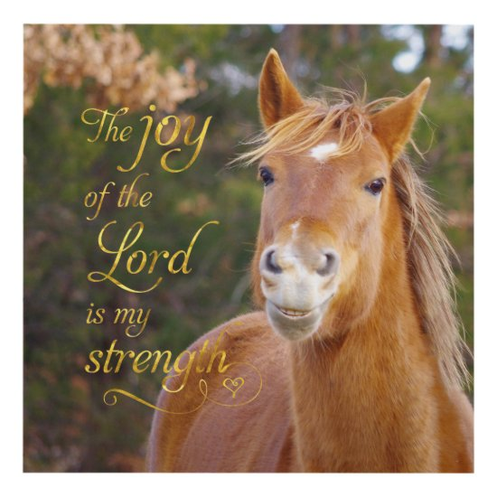 Bible Verse Smiling Chestnut Horse Panel Wall Art