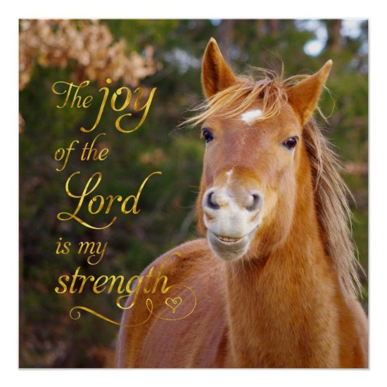 Bible Verse Smiling Chestnut Horse Perfect Poster