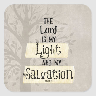 Bible Verse: The Lord is my Light and my Square Sticker