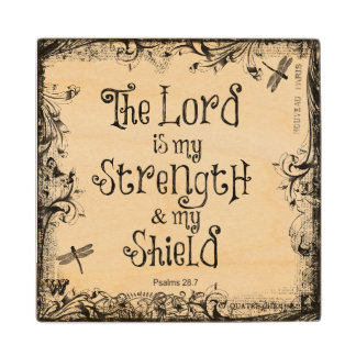 Bible Verse: The Lord is my Strength Maple Wood Coaster