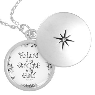 Bible Verse: The Lord is my Strength Silver Plated Necklace