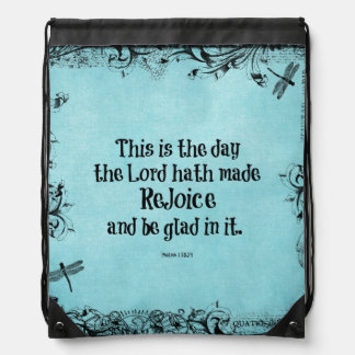 Bible Verse This is the Day the Lord hath Made Drawstring Bags