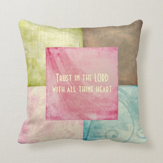 Bible Verse Trust in the Lord Throw Pillow