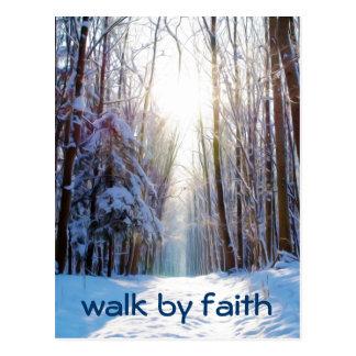 Bible Verse Walk by Faith Post Card
