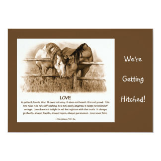 BIBLE VERSE: WEDDING INVITE: HORSES, PENCIL 5X7 PAPER INVITATION CARD