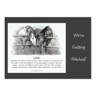 BIBLE VERSE: WEDDING INVITE: HORSES, PENCIL CARD