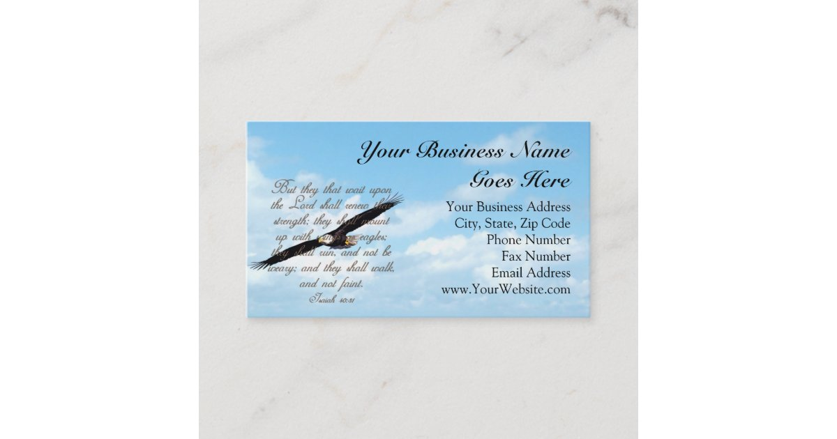 Bible Verse, Wings as Eagles Christian Business Card | Zazzle.com