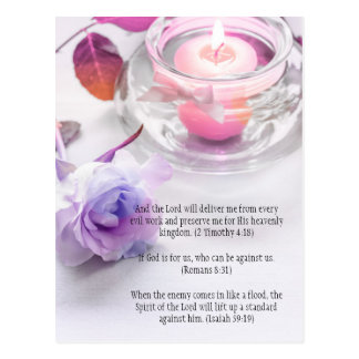 Bible verses, a rose and the candle postcard