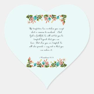 Bible Verses Art - 1 Corinthians 10:13 Heart Sticker